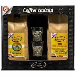 Coffret cadeau café grains ou moulus colombie brésil 2x500g