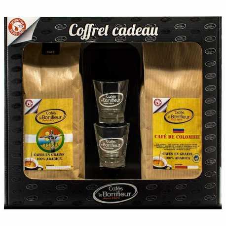 Coffret cadeau café grain ou moulu: café de Colombie et Brésil 2x500g