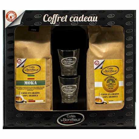 Coffret cadeau café grain ou moulu: Guatemala et Moka Éthiopie 2x500g