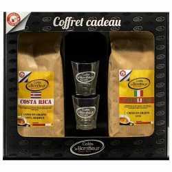 Coffret cadeau café grain ou moulu: Costa Rica et Italiano 2x500g Cafés le BONIFIEUR