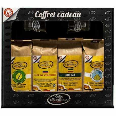 Coffret cadeau café grain ou moulu: Brésil Éthiopie Colombie et Guatemala 4x250g