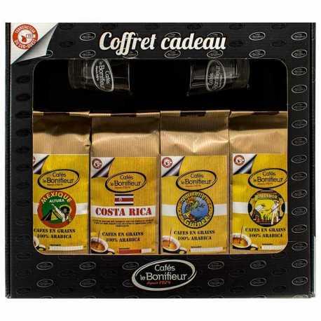 Coffret cadeau café grain ou moulu: Costa Rica Mexique Salvador Papouasie 4x250g