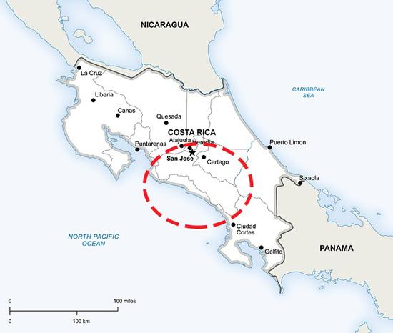 Carte des zones de plantations de café au costa-rica