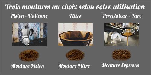 Moutures du café pour votre machine filtre, expresso ou piston